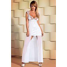 Соблазнительная двухслойная сорочка в пол Feelia gown  Длинная белая двухслойная сорочка с полупрозрачными вставками на груди, окантованными кружевом и легкими рукавами.