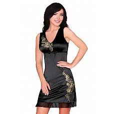 Облегающая сорочка Matleena с золотистой цветочной вышивкой  Сорочка из стрейч-атласного материала, украшена аппликацией из вышивки,PPниз обрамлен шифоном, под грудью скрытая резинка.