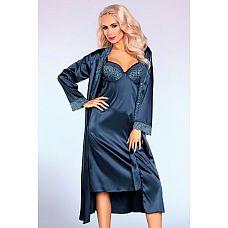Соблазнительный домашний комплект Yadira: пеньюар, сорочка и трусики  Соблазнительный домашний комплект Yadira: пеньюар, сорочка и трусики.