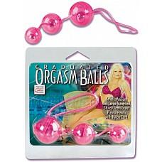 Три розовых вагинальных шарика  Три пластиковых розовых полупрозрачных шарика со смещенным центром тяжести, соединенных веревочкой. Диаметр шариков 3,5 см, 2,5 см и 1,5 см.