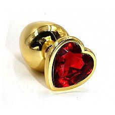 Золотистая алюминиевая анальная пробка с красным кристаллом-сердцем - 8,4 см.  Золотистая анальная пробка из алюминия размер L.