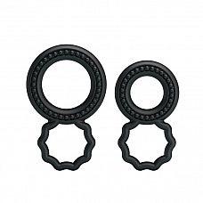Набор из 2 эрекционных колец с подхватом мошонки  Набор эрекционных колец черного цвета для дополнительной стимуляции.