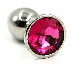 Серебристая малая анальная пробка с ярко-розовым кристаллом - 7 см.  Металлическая  анальная пробка ручной работы.