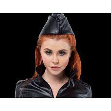 Чёрная пилотка из искусственной кожи  Пилотка стюардессы может быть использована как часть игрового костюма или как для самостоятельного ношения.