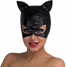 Маска кошки с большими прорезями для глаз  Черная маска игривой кошечки из мягкой эко-кожи.