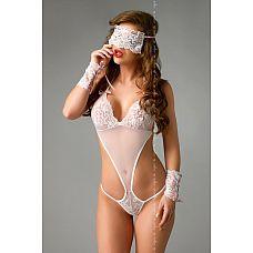 Полупрозрачное боди Bianca с аксессуарами  Соблазнительное боди в комплекте с оригинальными манжетами и маской в стиле 50 оттенков серого.