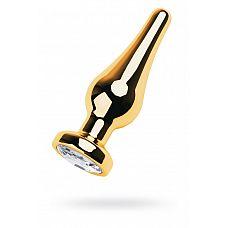 Золотистая каплевидная анальная пробка с прозрачным кристаллом - 10 см.  Золотистая каплевидная анальная пробка с прозрачным кристаллом.
