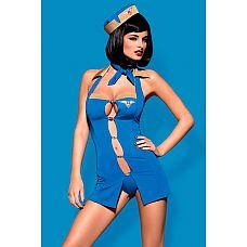 Костюм стюардессы Air hostess  Костюм стюардессы Air hostess (платье, стринги, пилотка и шарфик) В комплекте: платье, трусики-стринги, головной убор, нашейный платок.