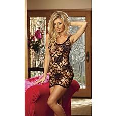 Сорочка в крупную сетку с узорами в виде сердец  Сексуальная сорочка-паутинка декорированная сердечками спереди и сзади.