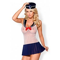 Сексуальный костюм морячки  Сексуальный костюм морячки: полупрозрачное платье, гольфы, трусики-стринги и головной убор.