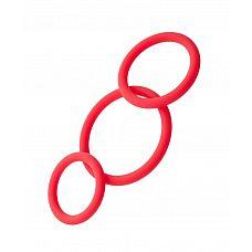 Набор из 3 красных эрекционных колец различного диаметра  С первого взгляда это набор не таит в себе тайн, но не торопитесь делать выводы! Он безусловно улучшит ваши результаты в любовной игре.