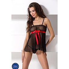 Полупрозрачная сорочка с алой лентой под грудью Enrica  Полупрозрачная сорочка с алой лентой под грудью Enrica.