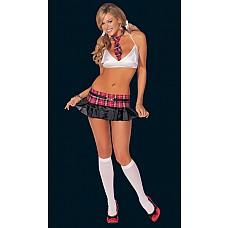 Эротический костюм «Школьница»  Эротический комплект из эластичного атласа, включает три предмета: топ, юбочку с поясом и галстук.
