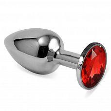 Серебристая анальная пробка с красным кристаллом размера M - 8 см.  Серебристая анальная пробка с красным кристаллом размера M.
