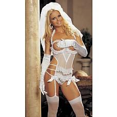 Игровой костюм невесты  Включает три предмета: прелестное сетевое TEDDY с открытым бюстом, отделано кружевной оборкой и атласными бантиками, подвязки прикрепляются к сорочке, сзади   огромный БАНТ из прозрачной ткани и ФАТА.