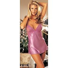 Атласное платье беби-долл с цветочной аппликацией  Атласное платье беби-долл с сетевыми вставками на груди и по бокам.