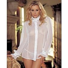 Нежная шифоновая блуза с длинными рукавами  Легкая шифоновая блуза с длинными рукавами, спереди на пуговках, на вороте и рукавах рюши.