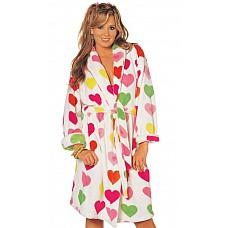Пушистый халатик с сердечками  Нежный и пушистый халатик с рисунком в виде сердечек, на пояске.