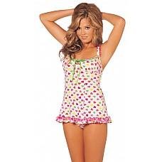 Миленькая сорочка с сердечками  Удобная сорочка в стиле бейби-долл с рисунком из разноцветных сердечек.