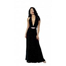 Длинное черное платье с украшением  Изысканное черное платье с глубоким вырезом из сверкающей ткани.