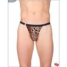 Леопардовые трусы-стринги с застежкой  Леопардовые мужские мини-стринги с застёжкой.