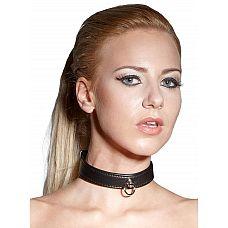 Чёрный ошейник Bad Kitty Bondage Collar Black  Для любителей подчиняться! Узкий черный двойной ошейник из искусственной кожи с декоративным кольцом для поводка.