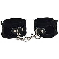 Чёрные замшевые наручники Bad Kitty Fesseln  Это - чистое безумие! Черные манжеты для рук с застежками на липучке и короткой цепочкой с одним карабином.