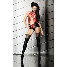 Захватывающий комплект Sensual  Захватывающий набор, состоящий из красных резинок, соединенных с широким поясом, и чулок.