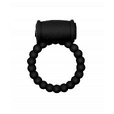 Чёрное эрекционное кольцо Rings Drums  Эрекционное кольцо с вибрацией из серии Rings подходит для стимуляции обоих партнеров.