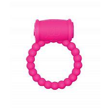 Розовое эрекционное кольцо Rings Drums  Эрекционное кольцо с вибрацией из серии Rings подходит для стимуляции обоих партнеров.