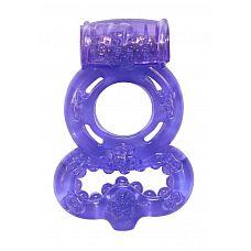 Фиолетовое эрекционное кольцо Rings Treadle с подхватом  Двойное эрекционное кольцо с вибрацией из серии Rings предназначено для настоящих мужчин.