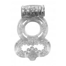 Прозрачное эрекционное кольцо Rings Treadle с подхватом  Двойное эрекционное кольцо с вибрацией из серии Rings предназначено для настоящих мужчин.