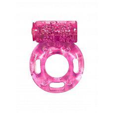 Розовое эрекционное кольцо с вибрацией Rings Axle-pin  Эрекционное кольцо с вибрацией из серии Rings подходит для стимуляции обоих партнеров.