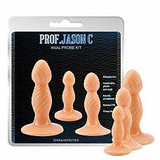 Набор из 3 фигурных анальных пробок телесного цвета  Набор из 3 фигурных анальных пробок телесного цвета.