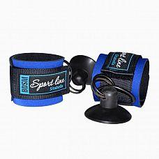 Сине-черные наручники с присосками для фиксации  Наручники с присоской выполненные из современного материала - мягкого пенистого неопрена, ламинированного шелковистым спандексом, (относятся к классу Soft-bondage), прекрасный аксессуар для начинающих.
