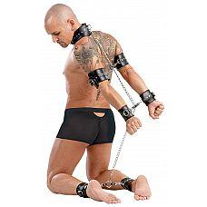Кожаный ошейник с оковами ZADO Complete  Неподвижность от головы до самых ног! Кожаные оковы из манжет на шею, две манжеты на руки, две манжеты на запястья и две на лодыжки.