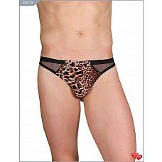 Мужские трусы-стринги с леопардовой вставкой спереди  Мужские трусы-стринги с леопардовой вставкой спереди.
