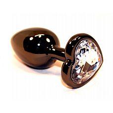 Чёрная пробка с прозрачным сердцем-кристаллом - 7 см.  Анальная пробка черного цвета с ярким кристаллом в форме сердечка внесет разнообразие в вашу интимную жизнь.