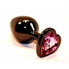 Чёрная пробка с розовым сердцем-кристаллом - 7 см.  Анальная пробка черного цвета с ярким кристаллом в форме сердечка внесет разнообразие в вашу интимную жизнь.