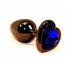 Чёрная пробка с синим сердцем-кристаллом - 7 см.  Анальная пробка черного цвета с ярким кристаллом в форме сердечка внесет разнообразие в вашу интимную жизнь.