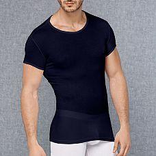 Мужская обтягивающая футболка в мелкий рубчик  Футболка из полупрозрачной мягкой ткани.