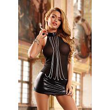 Платье wetlook с металлическими цепочками  Провокационное клубное платье wetlook c прозрачным бюстом и открытой спиной.