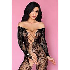 Сексуальный боди-комбинезон в мелкую сеточку Olamiden  Сексуальный боди-комбинезон в мелкую сеточку с цветочным рисунком и длинными рукавами.