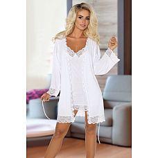 Ночной комплект Jane: пеньюар и сорочка с кружевами  Комплект Jane с кружевными вставками, состоит из сорочки и пеньюара.