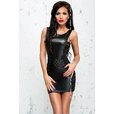 Облегающее платье с эффектом мокрого блеска Lea  Эротическое платье черного цвета, выполненное из материала с wet-эффектом и эластичных лент, поможет Вам создать образ деловой соблазнительницы.