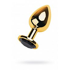 Золотистая анальная втулка со стразом чёрного цвета - 9,5 см.  Такой анальный страз не только украсит ваши игры, но и заметно сузит пространство внутри влагалища.