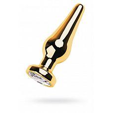 Удлинённая анальная пробка с прозрачным кристаллом - 12 см.  Золотистая втулка в виде наконечника стрелы со стразом цвета алмаз.