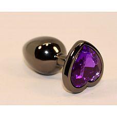 Чёрная анальная пробка с фиолетовым кристаллом-сердцем - 8 см.  Анальная пробка черная с ярким кристаллом в форме сердечка внесет разнообразие в вашу интимную жизнь.