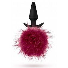 Силиконовая анальная пробка с бордовым заячьим хвостом Fur Pom Pom - 12,7 см.  Силиконовая анальная пробка с бордовым заячьим хвостом Fur Pom Pom.