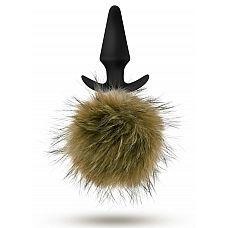 Силиконовая анальная пробка с дымчатым заячьим хвостом Fur Pom Pom - 12,7 см.  Силиконовая анальная пробка с дымчатым заячьим хвостом Fur Pom Pom.